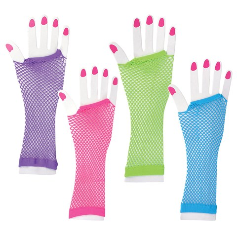 Long Fishnet Neon Gloves
