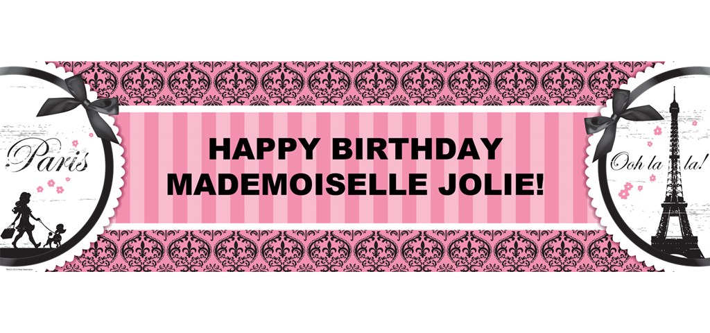 Paris Damask Personalized Banner