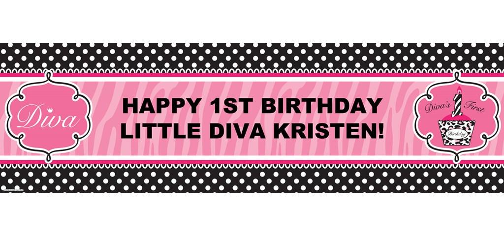 Diva Zebra  Print 1st Birthday Personalized Banner