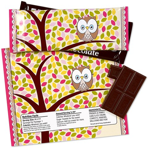 Pink Owl Large Candy Bar Wrappers