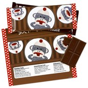 Sock Monkey Red Large Candy Bar Wrappers