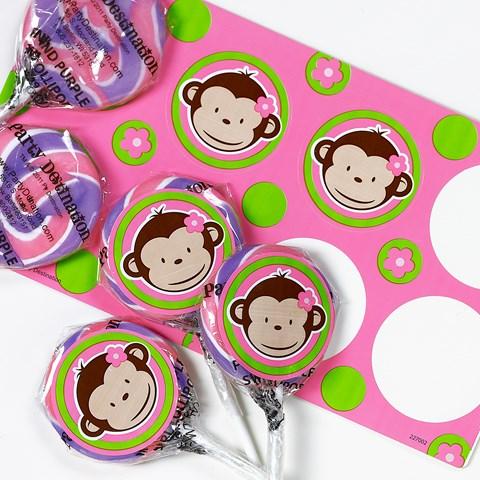 Pink Mod Monkey Small Lollipop Sticker Kit
