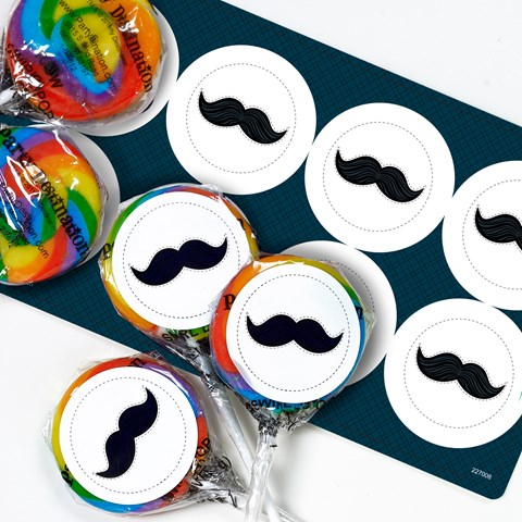 Little Man Mustache Small Lollipop Sticker Kit