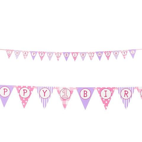 1st Birthday Girl Ribbon Flag Banner