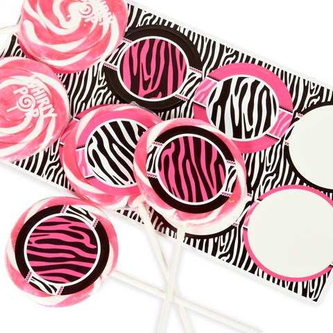 Diva Zebra Print Large Lollipop Sticker Kit