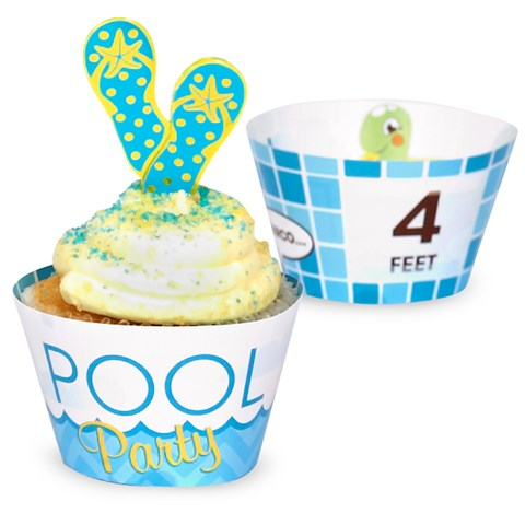 Splashin' Pool Party Reversible Cupcake Wrappers