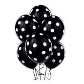 Black with White Polka Dots Latex Balloons
