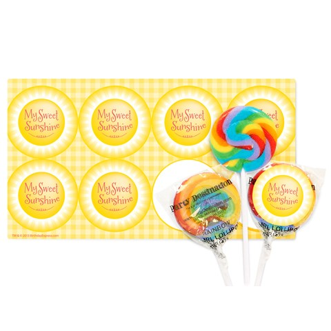 Little Sunshine Party Small Lollipop Sticker Kit