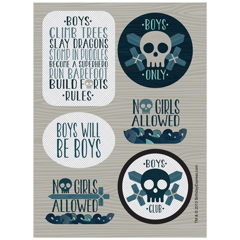 Boys Only Bash Sticker Sheets