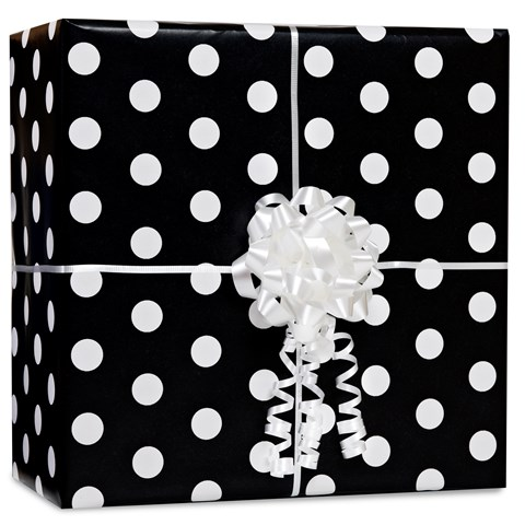 Black Polka Dot Gift Wrap Kit