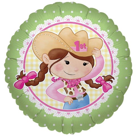 Pink Cowgirl 1st Birthday Foil Balloon