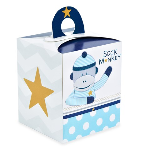 Sock Monkey Blue Cupcake Boxes (4)