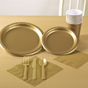 Glittering Gold Solid Color Party Pack