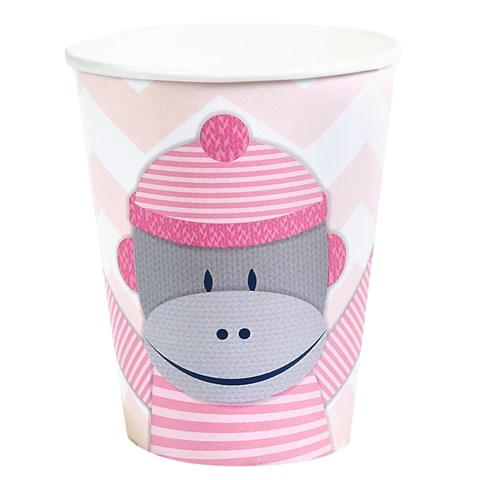Sock Monkey Pink 9 oz. Paper Cups (8)