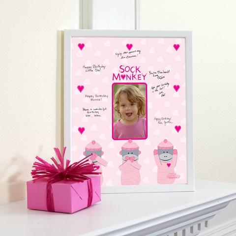 Sock Monkey Pink Framed Signature Matte