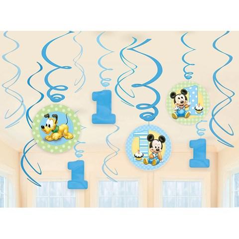 Disney Mickey 1st Birthday Hanging Swirl Decorations