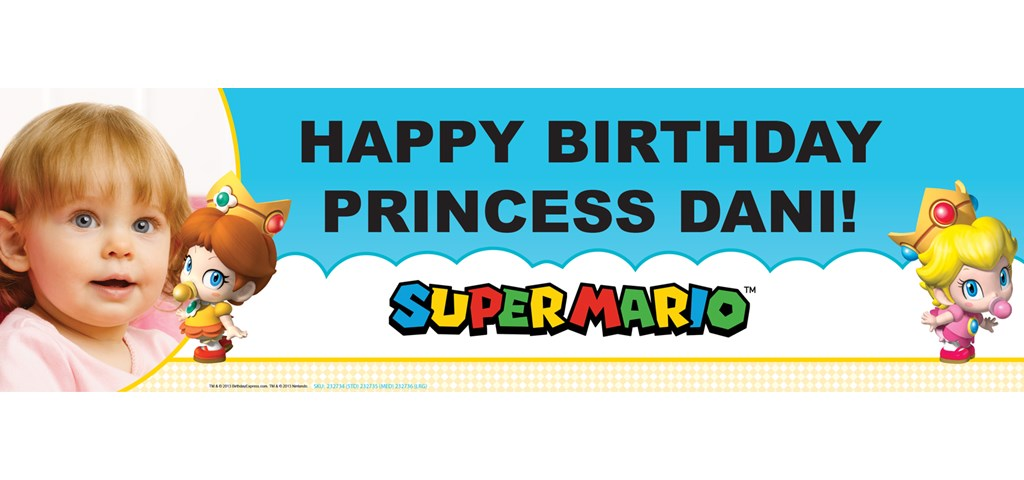 Super Mario Bros. Babies Girl Personalized Photo Banner