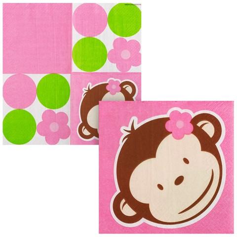 Pink Mod Monkey Beverage Napkins