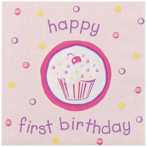 Girl's Lil' Cupcake 1st Birthday Lunch Napkins