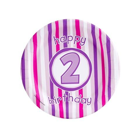 Girl's Lil' Cupcake 2nd Birthday Dessert Plates
