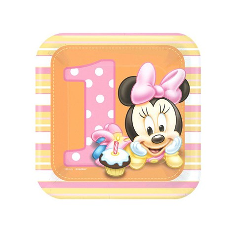 Disney Minnie's 1st Birthday Square Dessert Plates