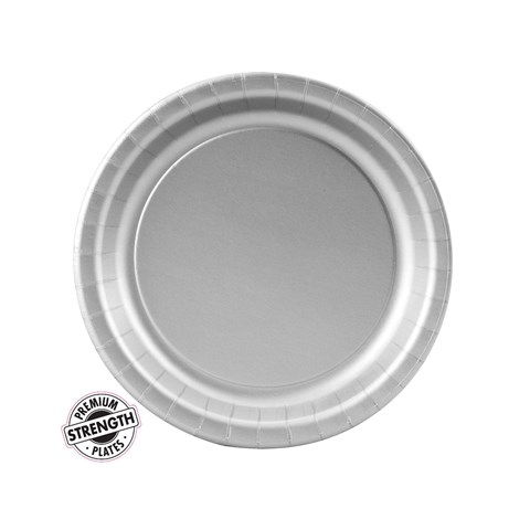 Shimmering Silver (Silver) Paper Dessert Plates