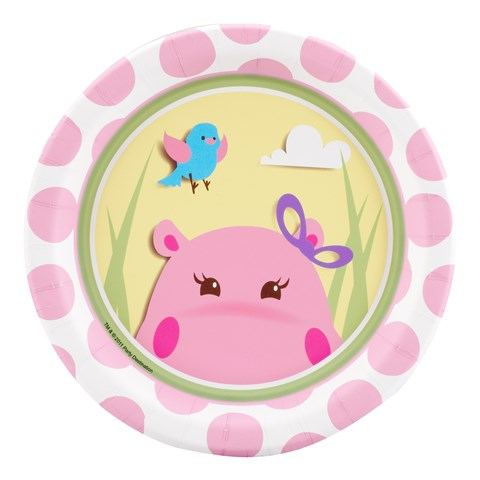 Hippo Pink Dessert Plates