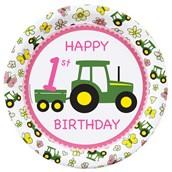 John Deere Pink 1st Birthday Dinner Plates