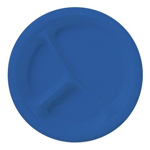 True Blue (Blue) Plastic Divided Plates