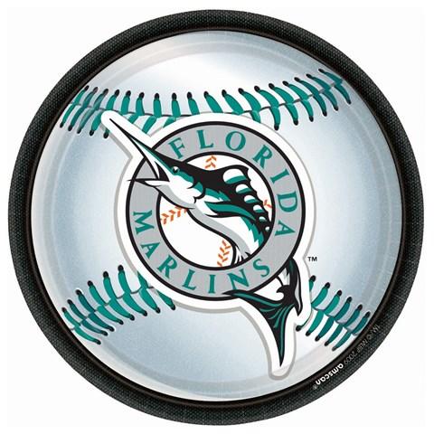 Florida Marlins Baseball Round Dinner Plates