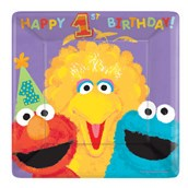 Sesame Street 1st Birthday Square Banquet Dinner Plates