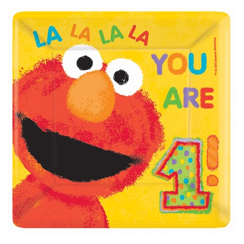 Elmo's 1st Square Banquet Dinner Plates