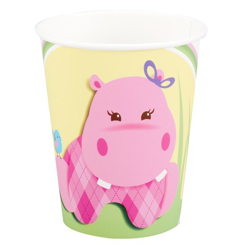 Hippo Pink 9 oz. Paper Cups