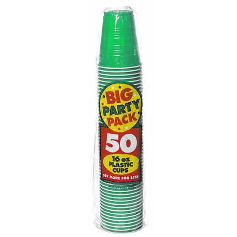 Festive Green Big Party Pack 16 oz. Plastic Cups