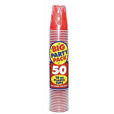Apple Red Big Party Pack 16 oz. Plastic Cups