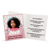 Pink Poodle in Paris Personalized Invitations