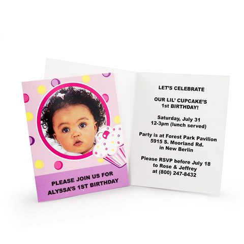 Girl's Lil' Cupcake 1st Birthday Personalized Invitations