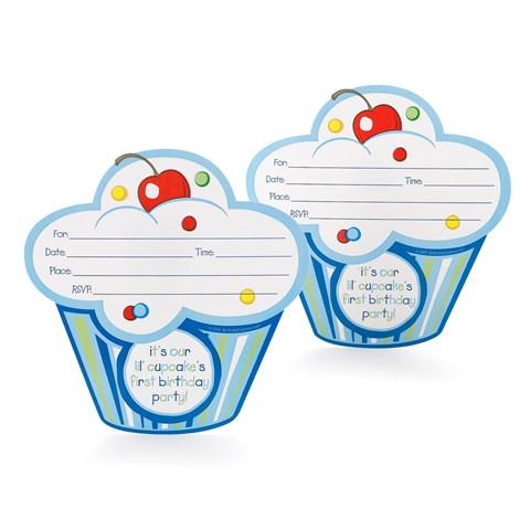 Boy's Lil' Cupcake 1st Birthday Invitations