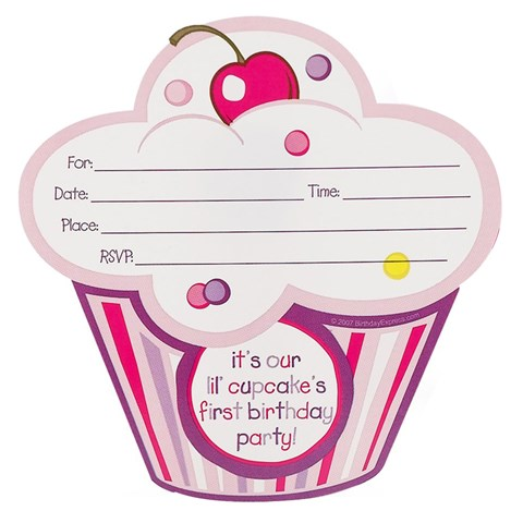 Girl's Lil' Cupcake 1st Birthday Invitations