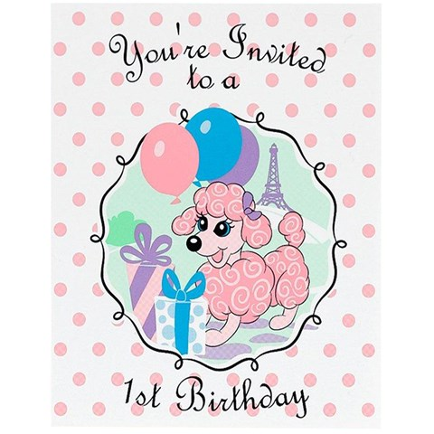 Pink Poodle in Paris 1st Birthday Invitations