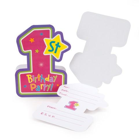 Hugs & Stitches Girl's 1st Birthday Invitations