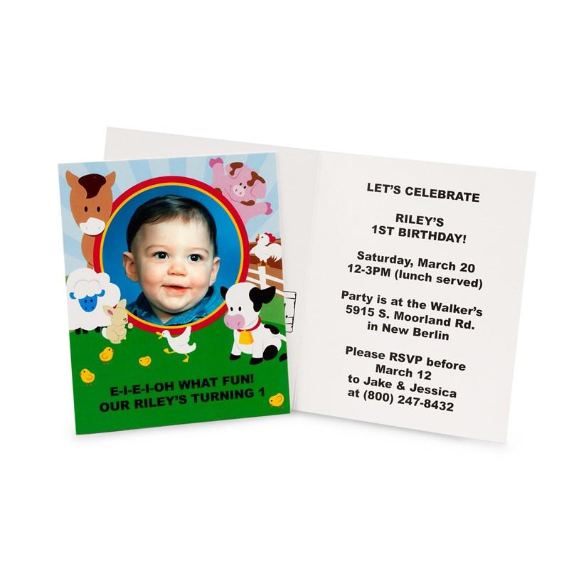 Barnyard 1st Birthday Personalized Invitations