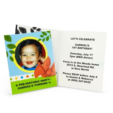 Little Dino 1st Birthday Personalized Invitations