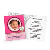 Look Whoo's 1 - Pink Personalized Invitations