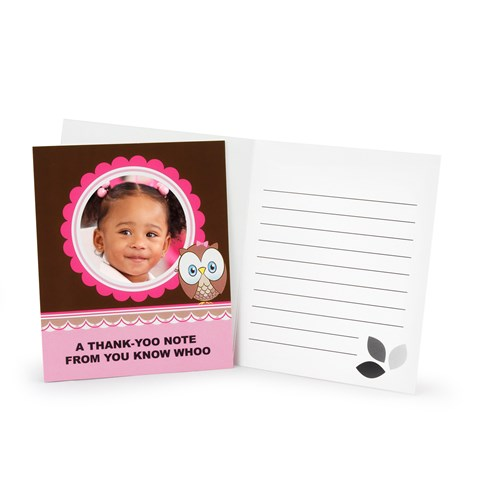 Look Whoo's 1 - Pink Personalized Thank-You Notes