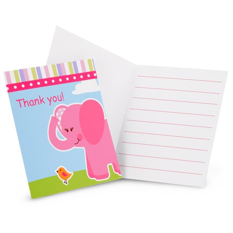 Pink Elephants Thank-You Notes
