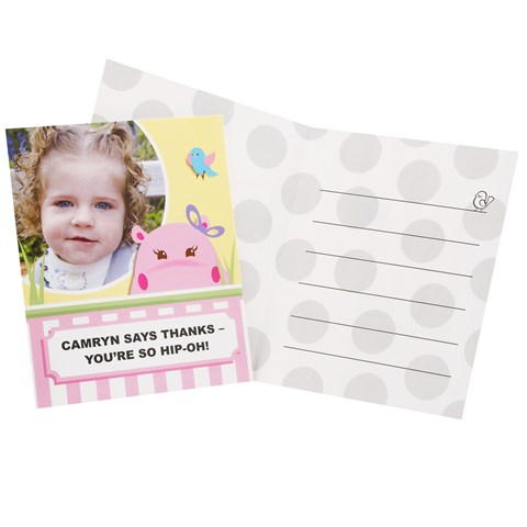 Hippo Pink Personalized Thank-You Notes