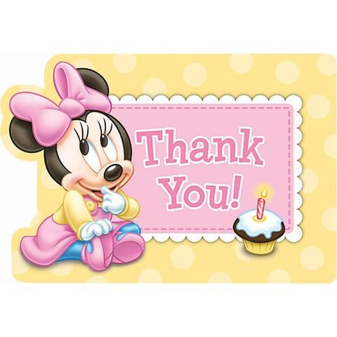 Disney Minnie's 1st Birthday Thank-You Notes