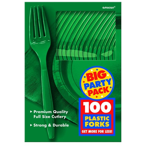 Festive Green Big Party Pack Forks