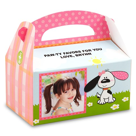 Playful Puppy Pink Personalized Empty Favor Boxes